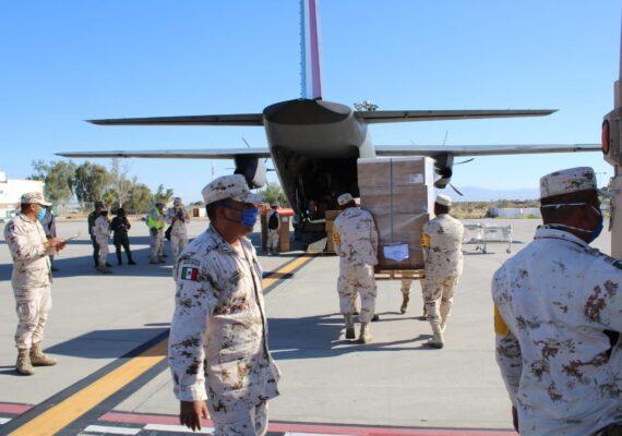Trae Fuerza Aérea insumos para el Covid-19 en BC