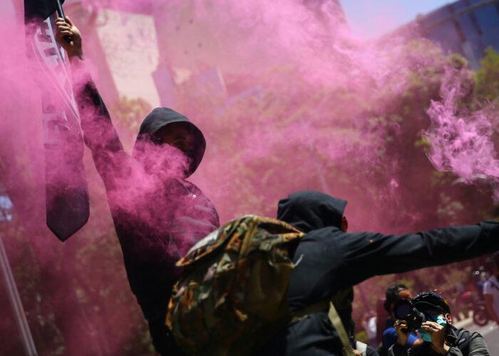 Destrozos en las afueras de la Embajada de EE.UU. en Ciudad de México por la muerte de George Floyd y Giovanni López