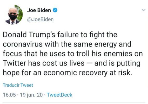 Las políticas de Trump han costado vidas: Biden