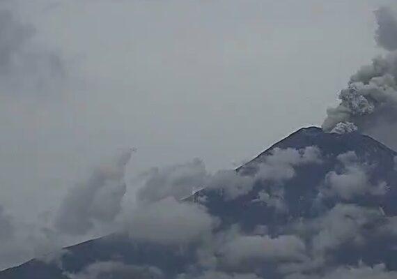 VIDEO: El volcán Popocatépetl emite dos exhalaciones de gas y cenizas en las últimas 24 horas