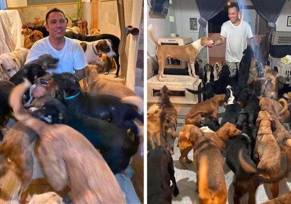 Un mexicano protege a más de 300 animales del huracán Delta y se hace viral