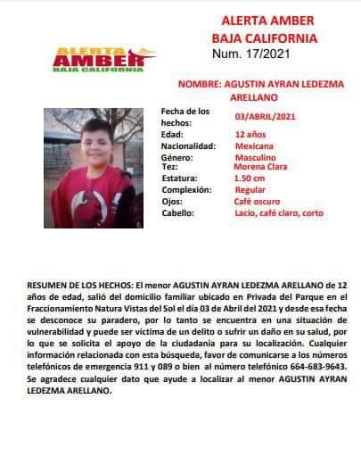 Buscan a Agustín Ayran Ledezma Arellano de 12 años